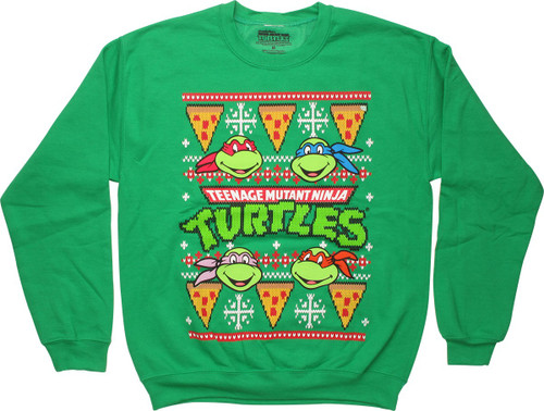 Ninja Turtles Heads & Pizza Christmas Sweatshirt