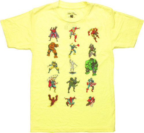 Marvel Characters Yellow Juvenile T-Shirt