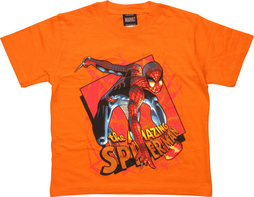 Amazing Spiderman Pose Orange Juvenile T-Shirt