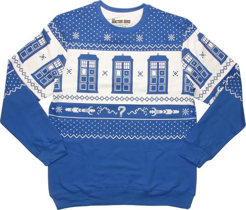 Dr Who Christmas Sweater.Doctor Who Tardis Royal Blue Christmas Sweatshirt