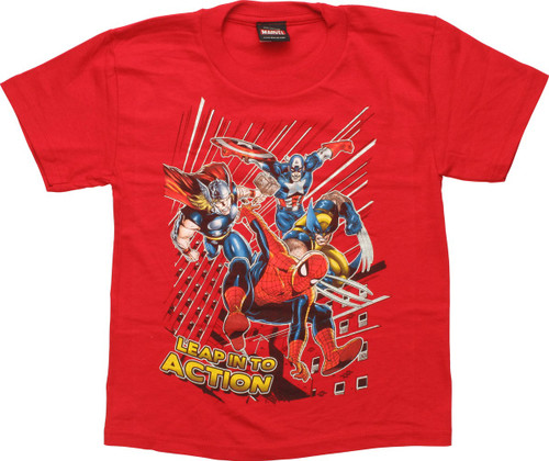 Marvel Heroes Leap Into Action Juvenile T-Shirt