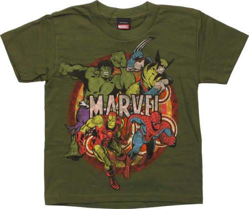 Marvel Heroes Action Pose Juvenile T-Shirt