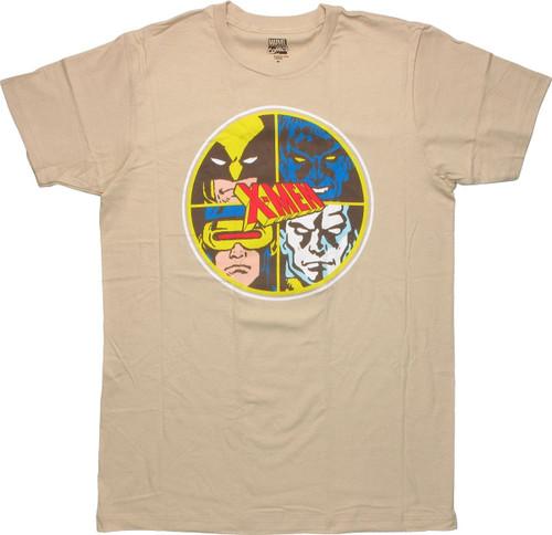 X Men Four Face Circle T-Shirt Sheer
