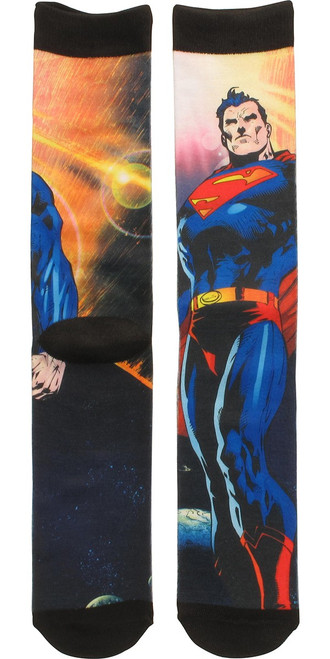 Superman Flying in Space Sublimated Crew Socks