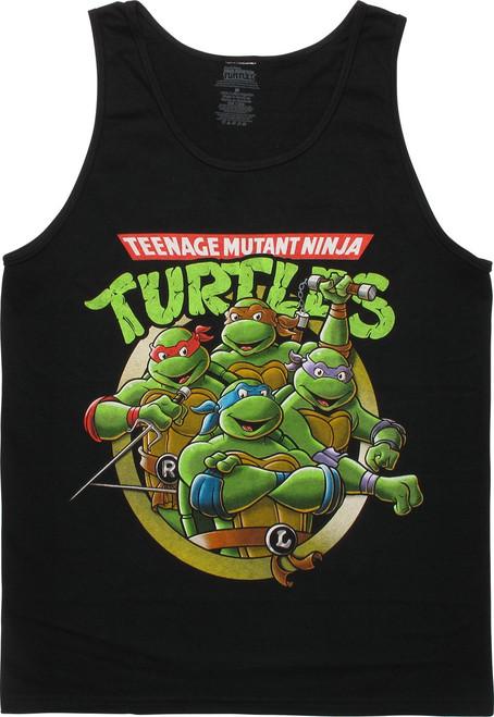 Ninja Turtles Group Pose Black Tank Top