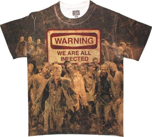 Walking Dead Warning Sublimated T-Shirt Sheer