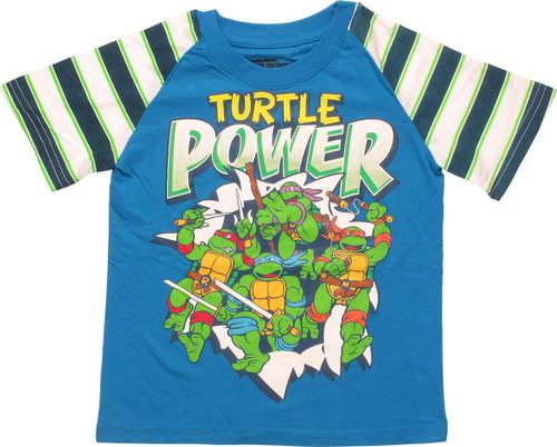 Ninja Turtles Power Striped Sleeve Toddler T-Shirt