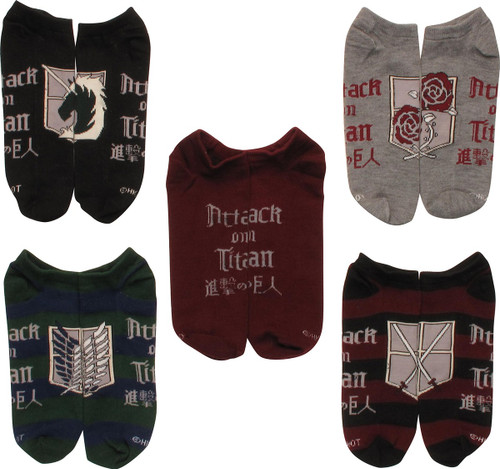 Attack on Titan Crests 5 Pair Low Cut Socks Set