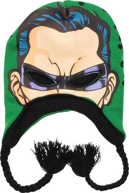 Batman Riddler Face Eye Hole Tassel Beanie