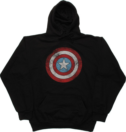 Captain America Distressed Logo Pullover Hoodie