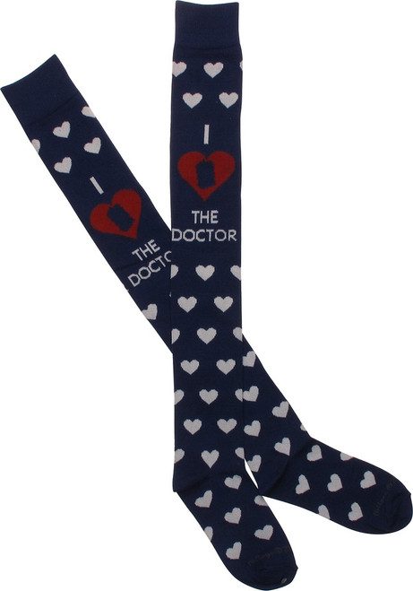 Doctor Who Love Doc Hearts Ladies OTK Socks