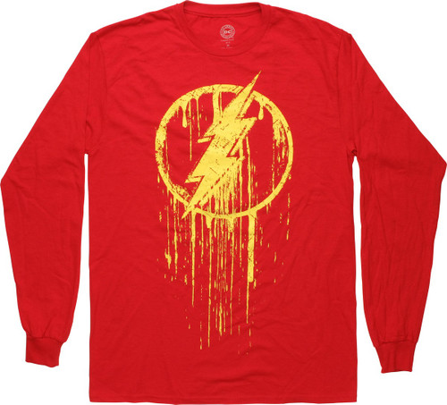 Flash Distressed Drip Logo Long Sleeve T-Shirt