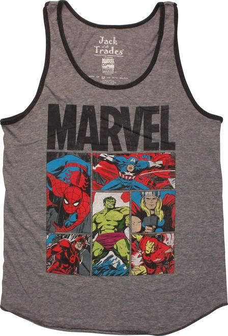 Marvel Comics Hero Stance Panels Ringer Tank Top
