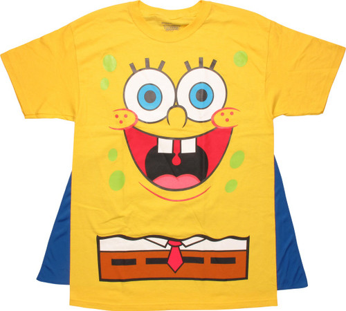 Spongebob Squarepants Costume Belt Caped T-Shirt