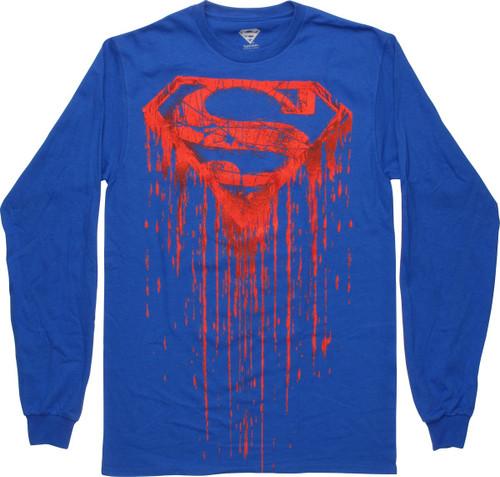 Superman Drip Logo Long Sleeve T-Shirt