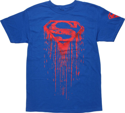 Superman Red Distressed Drip Logo T-Shirt