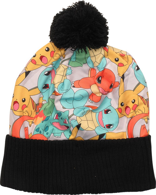 Pokemon Pikachu and Starters Sublimated Pom Beanie