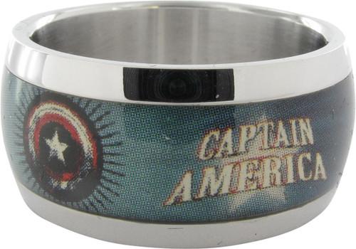 Captain America Name Stars Shield Ring