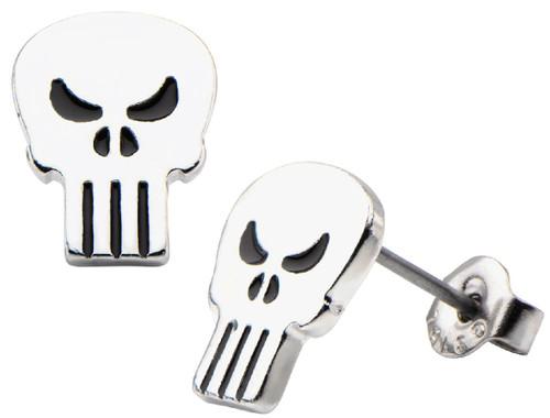 Punisher Silver Logo Stud Earrings