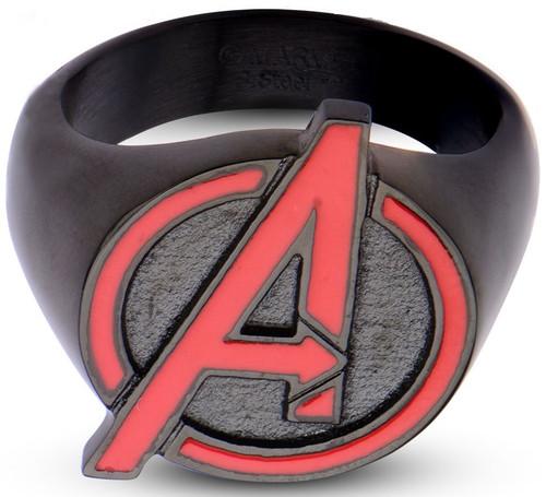 Avengers Assemble Red Logo Black Ring