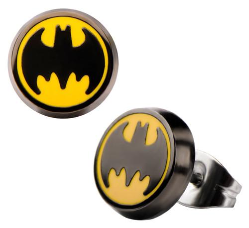 Batman Round Logo Stud Earrings