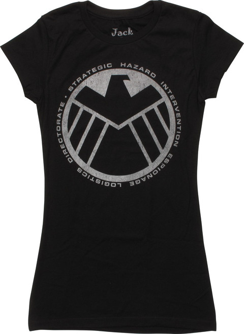 SHIELD Logo and Words Distressed Juniors T-Shirt