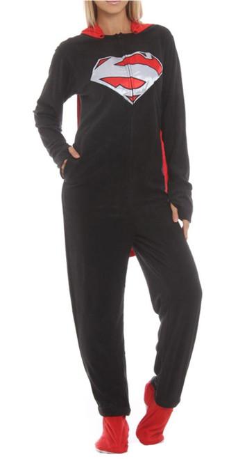 Superman Black Costume Removable Cape Union Suit