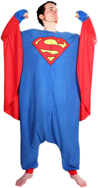 Superman Costume with Attached Cape Pajamas