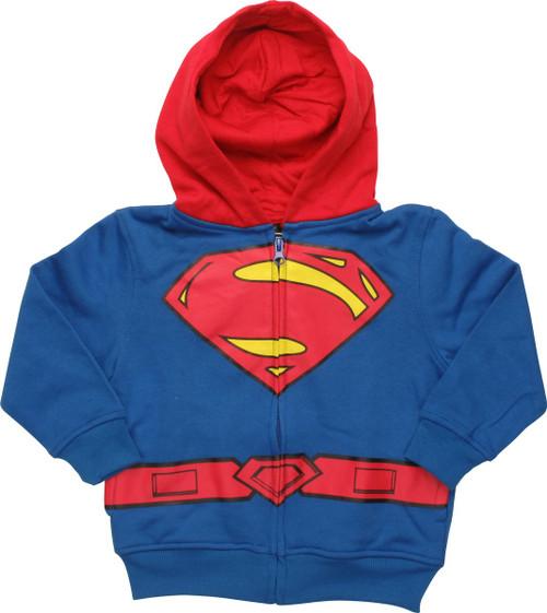 Superman Suit Zip Toddler Hoodie