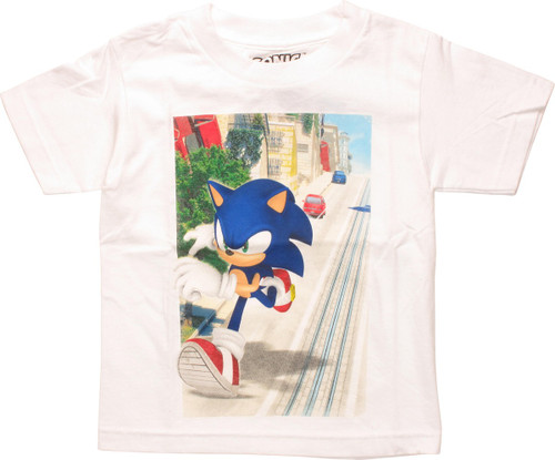 247be8df13f3 Sonic the Hedgehog Running Road Juvenile T-Shirt juvenile-t-shirt-sonic -running-road