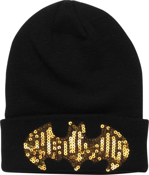 Batman Sequin Logo Cuff Beanie