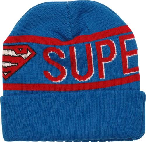 Superman Logo Name Around Cuff Beanie