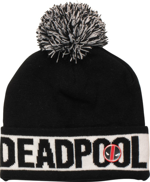 a6a5a799d8d Deadpool Name Logo Pin Pom Cuff Beanie