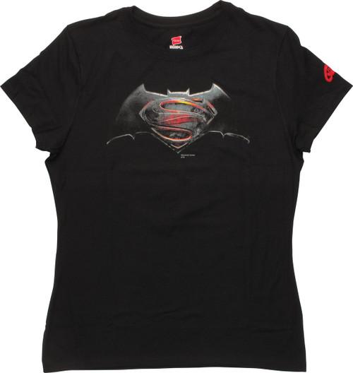 Batman v Superman Movie Logo Ladies T-Shirt