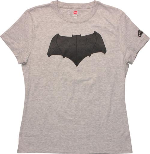 Batman v Superman Bat Logo Heather Ladies T-Shirt