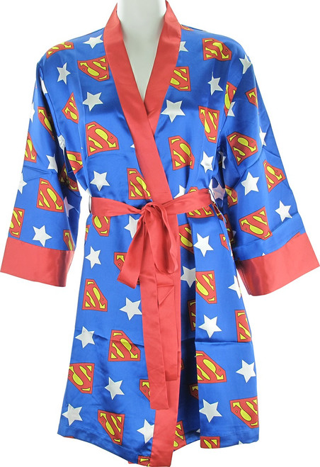 Superman All Over Logo Stars Satin Junior Robe