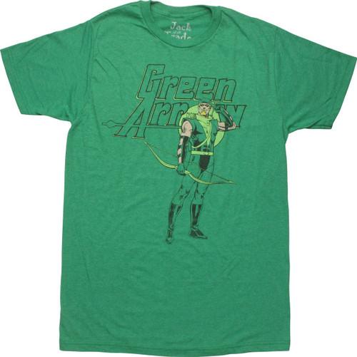 Green Arrow Standing Retro T-Shirt