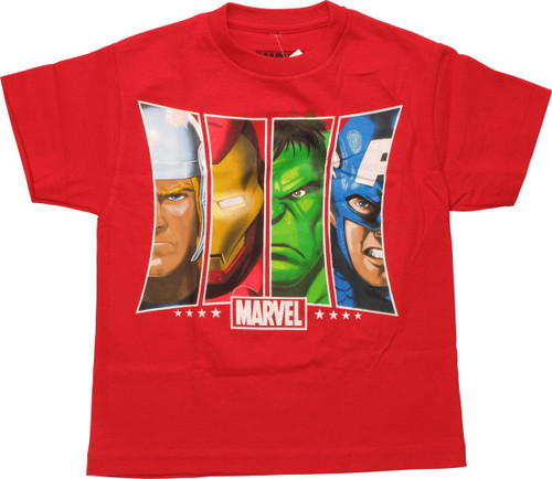 Avengers Marvel Hero Panels Youth T-Shirt