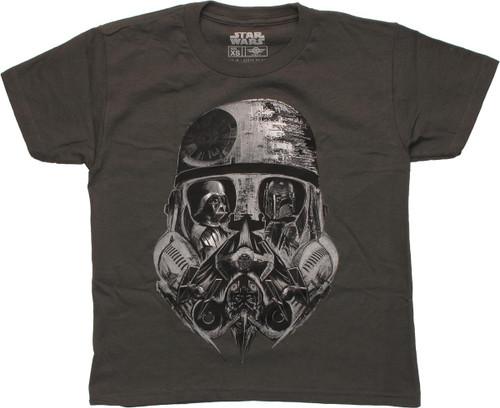 Star Wars Collage Trooper Helmet Art Youth T-Shirt