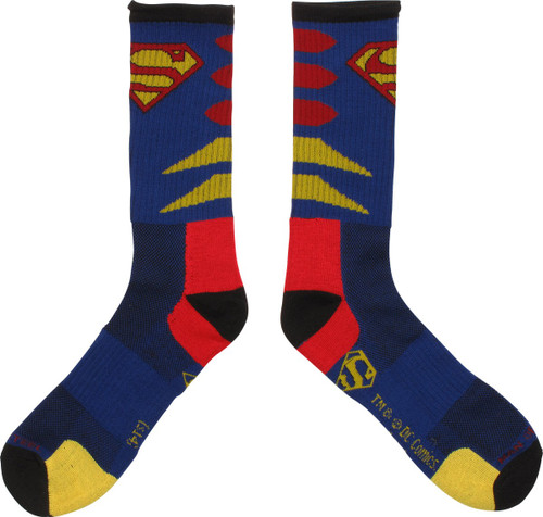 Superman Logo Stripes Active Crew Socks
