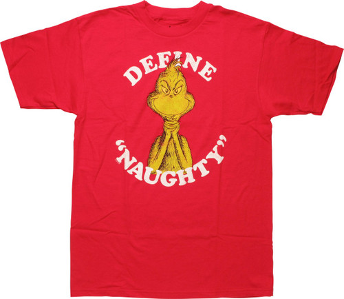 Dr Seuss Grinch Define Naughty Mighty Fine T-Shirt