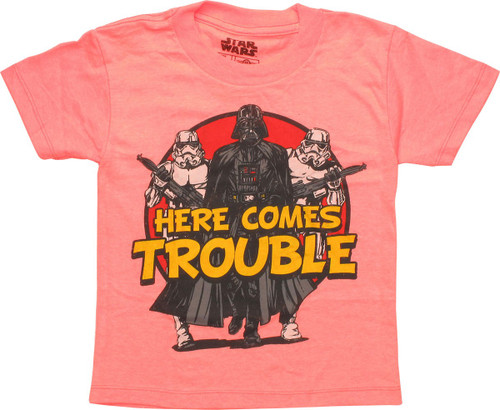 Star Wars Here Comes Trouble Coral Juvenile Shirt