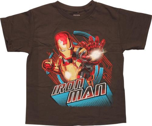 Iron Man Palm Repulsor Brown Juvenile T-Shirt