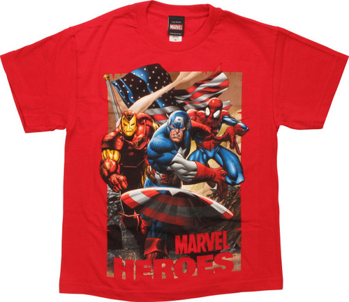 Avengers Marvel Heroes Red Youth T-Shirt