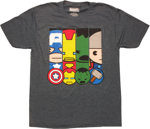 Avengers Kawaii Panels and Faces T-Shirt Sheer