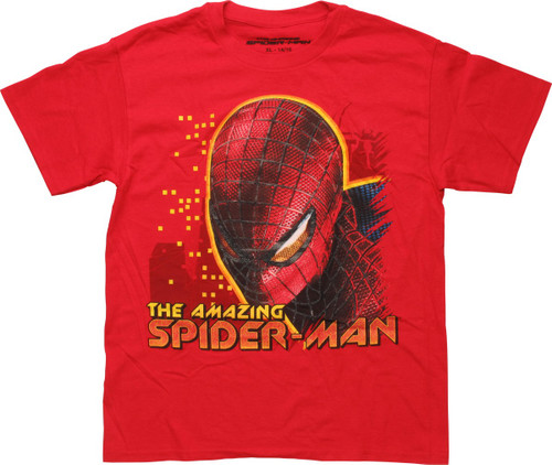 Amazing Spiderman Bust Red Youth T-Shirt