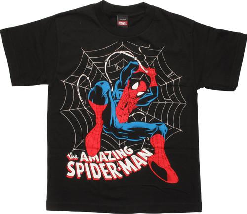 Amazing Spiderman Swinging Web Youth T-Shirt