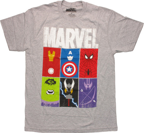 Marvel Avengers Block Trademarks T-Shirt Sheer
