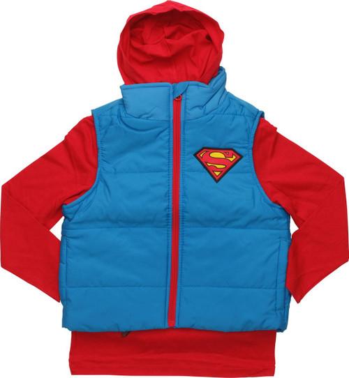 Superman Hooded Shirt Sleeveless Juvenile Jacket