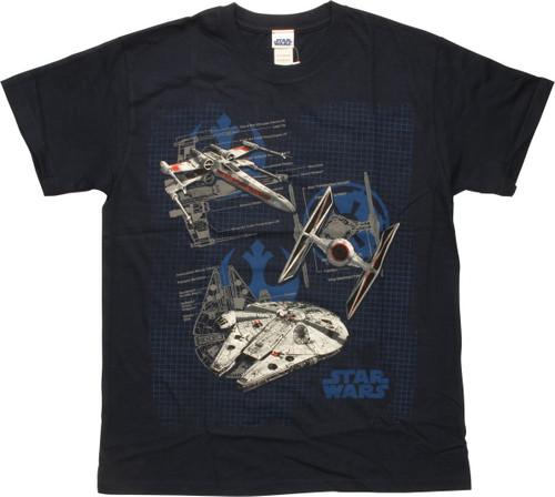 Star Wars Three Ships and Logo T-Shirt